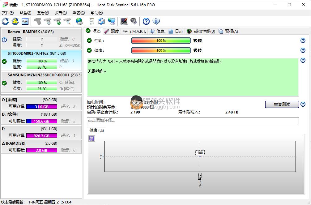 Hard Disk Sentinel 5.6.1.16 硬盘哨兵破解版 硬盘检测 第1张